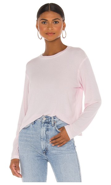 ATM Anthony Thomas Melillo micromodal long sleeve cropped crew neck top in pale pink