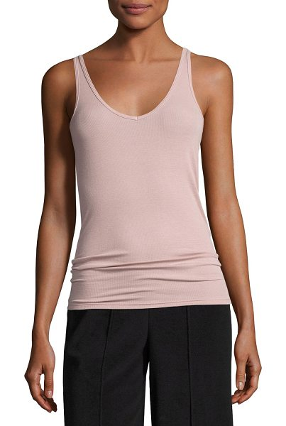 ATM Anthony Thomas Melillo Modal Rib Wrestler Tank in pink - ATM Anthony Thomas Melillo wrestler-style tank top....