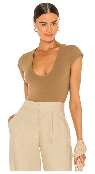 ATM Anthony Thomas Melillo pima cotton deep v neck bodysuit in sahara