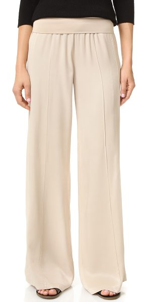ATM Anthony Thomas Melillo pull on palazzo pants in almond - Wide leg ATM Anthony Thomas pants rendered in slinky...