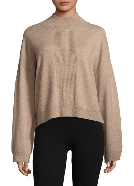 ATM Anthony Thomas Melillo ribbed mockneck sweater in sandy - Soft sweater in luxe wool-blend fabric. Mockneck. Long...