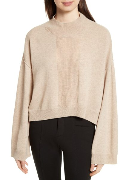 ATM Anthony Thomas Melillo wool & cashmere sweater in sandy - Widely flared sleeves and dropped shoulders enhance the...