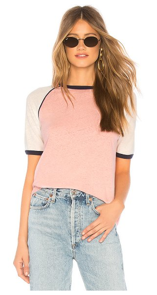 Auguste Charlie Ringer Tee in pink - Cotton blend. Burnout knit fabric. Contrast ribbed trim....