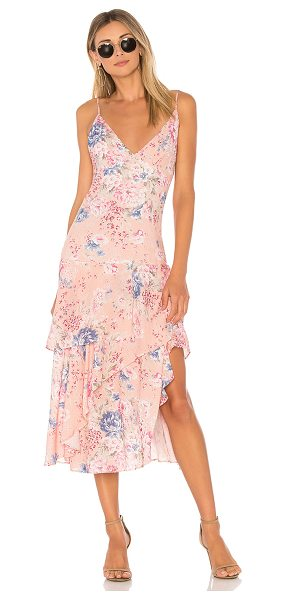 Auguste Dahlia Cascade Dress in blush - 100% rayon. Hand wash cold. Partially lined. Adjustable...