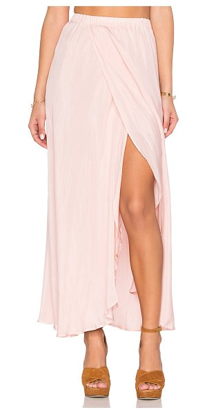 Auguste Hippy Wrap Skirt in pink - Silk blend. Dry clean only. Fully lined. Elastic waist....