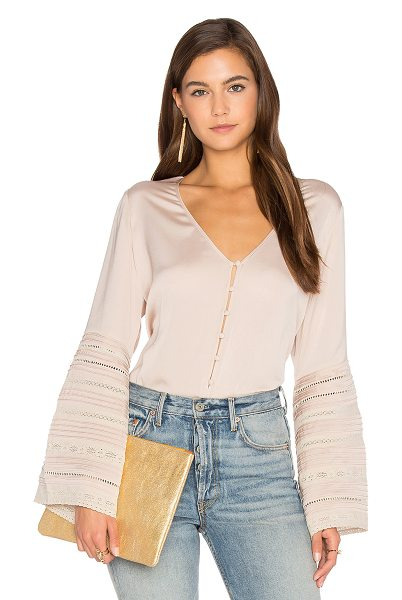 Auguste Luxe Bell Sleeve Top in sand - Silk blend. Dry clean only. Button front closures....