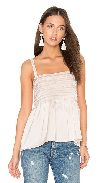 Auguste Luxe Cami in sand - 100% poly. Hand wash cold. Contrast lace trim panels....