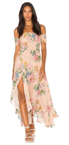 "Auguste x REVOLVE Boheme Goddess Maxi Dress in pink - ""100% rayon. Hand wash cold. Unlined. Elasticized..."