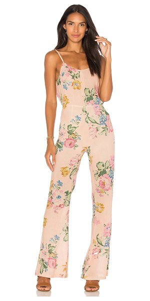 "Auguste x REVOLVE Havana Nights Backless Splash Flared Jumpsuit in pink - ""100% rayon. Hand wash cold. Adjustable shoulder straps...."