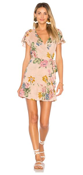 Auguste x REVOLVE Havana Nights Frill Wrap Mini Dress in blush - Rayon blend. Hand wash cold. Unlined. Wrap front with...