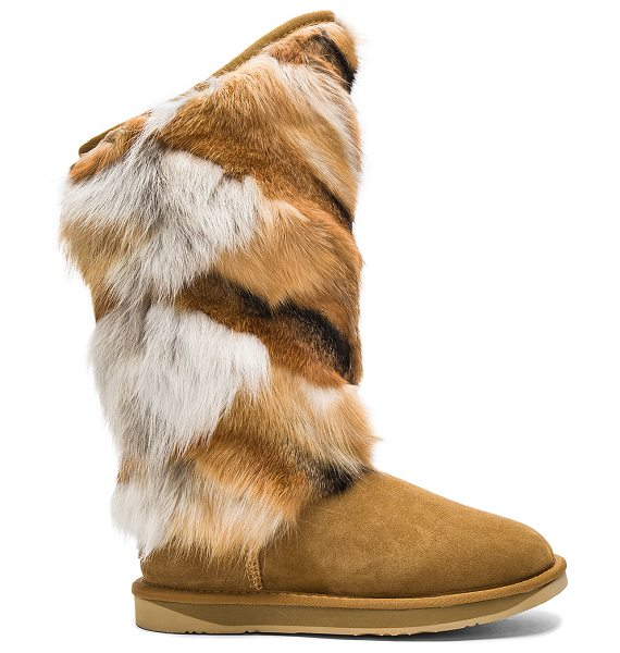 AUSTRALIA LUXE COLLECTIVE Mongol Fox Fur Boot - Natural fox fur and suede upper with EVA rubber sole....