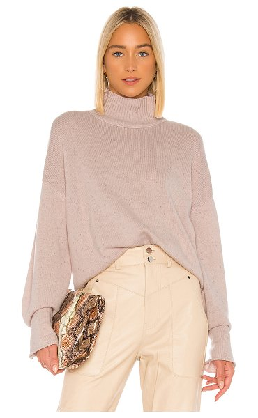 Autumn Cashmere boxy mock neck sweater in pink opal