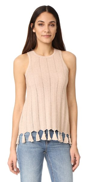 Autumn Cashmere chevron stitch tank in beech - Thin ribs arranged in a chevron pattern add texture to...