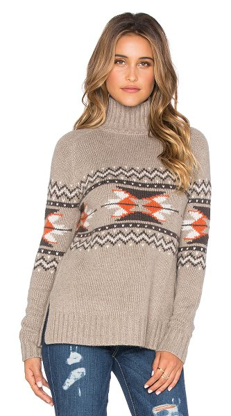 Autumn Cashmere Fairisle mockneck sweater in taupe - 30% cashmere 30% viscose 20% polyamide 20% wool. Dry...