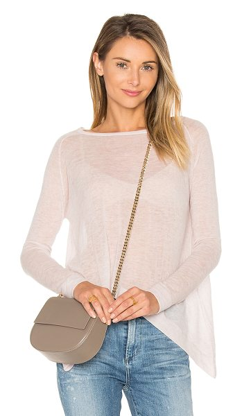 Autumn Cashmere Hanky Hem Boatneck Sweater in mauve - 100% cashmere. Dry clean only. Semi-sheer knit fabric....