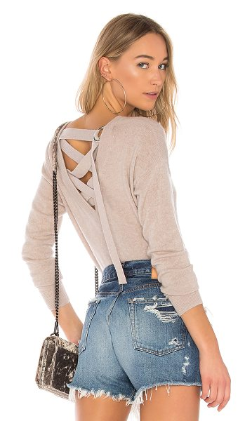 Autumn Cashmere Lace Up Back Sweater in taupe - 100% pure cashmere. Dry clean only. Rib knit trim....