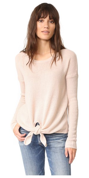 Autumn Cashmere loose gg tie front sweater in buff - A super-soft, open-knit Autumn Cashmere sweater with...