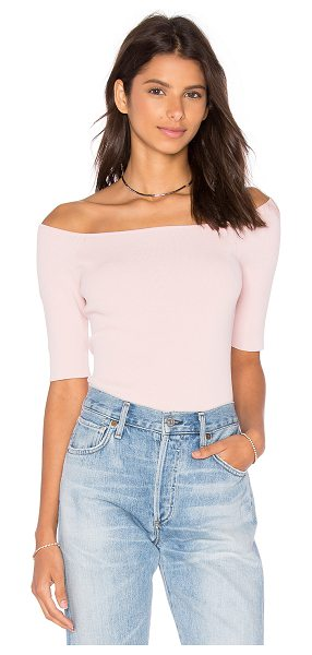 AUTUMN CASHMERE Off Shoulder Crop Top - 75% viscose 25% poly. Hand wash cold. Stretchy rib knit...