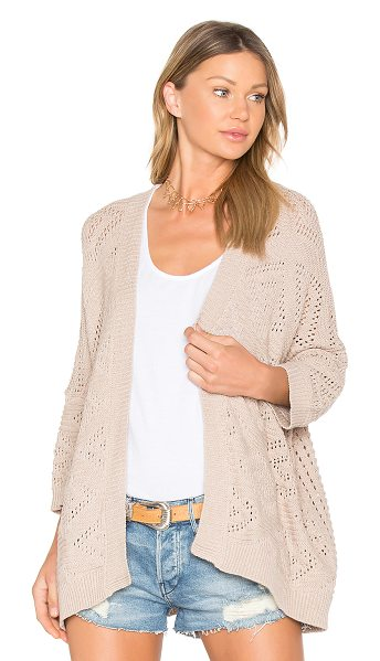 Autumn Cashmere Open Knit Cardigan in nude - 100% cotton. Hand wash cold. Open front. Knit fabric....