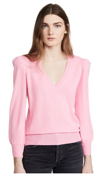 Autumn Cashmere puff sleeve cashmere v neck pullover in candy