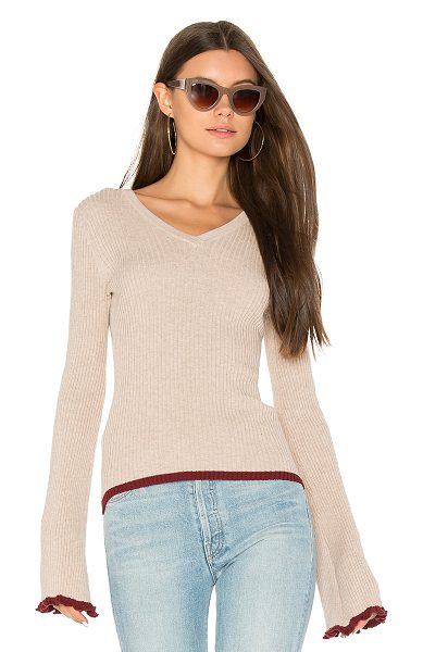Autumn Cashmere Ribbed Bell Sleeve Sweater in taupe - 100% cotton. Hand wash cold. Ruffled edges. Rib knit...