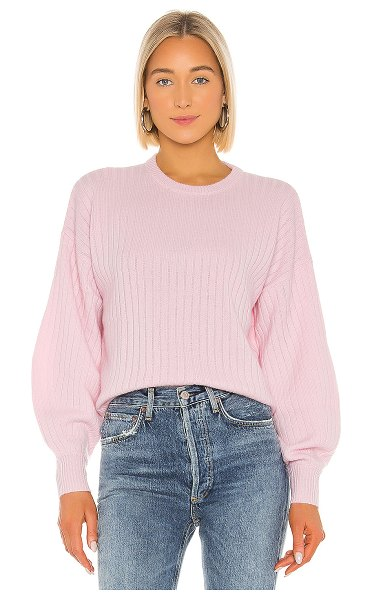 Autumn Cashmere shaped rib bishop sleeve crew sweater in blossom