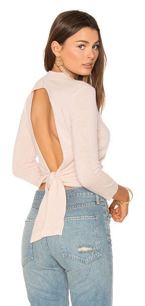 Autumn Cashmere Tie Back Crop Sweater in pink - 100% cashmere. Dry clean only. Back cut-out with tie...