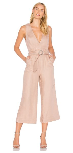 "AVEC LES FILLES Belted Jumpsuit in blush - ""57% linen 43% cotton. Crossover back with snap button..."