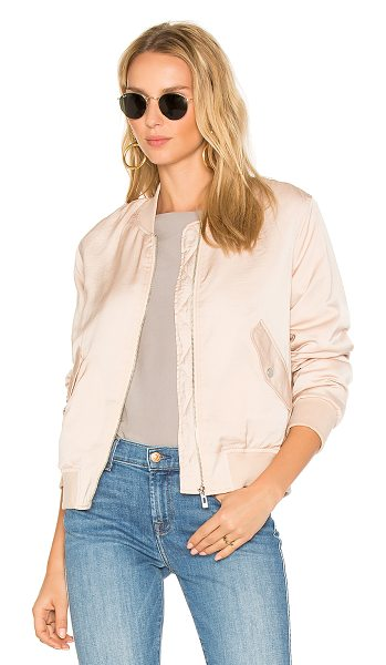 AVEC LES FILLES Classic Bomber in pale peach - Self & Lining: 100% poly. Front zipper closure. Flap...