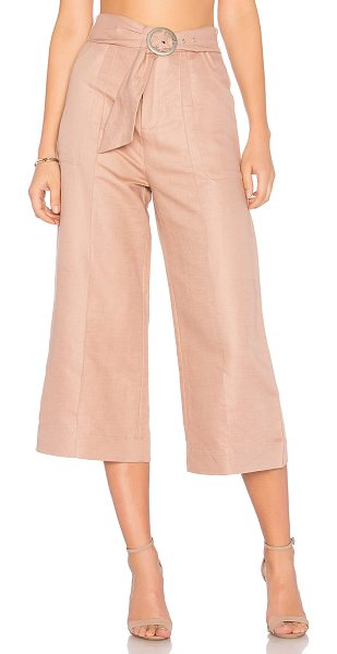 "AVEC LES FILLES Cropped Tie Waist Pant in rose - ""57% linen 43% cotton. Zip fly with hook and bar..."