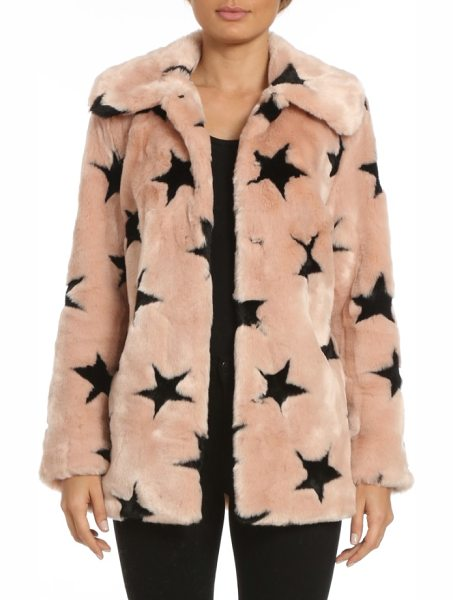 AVEC LES FILLES faux fur swing coat in pink w/ black stars - Cozy and glam all at once, this collared faux fur jacket...