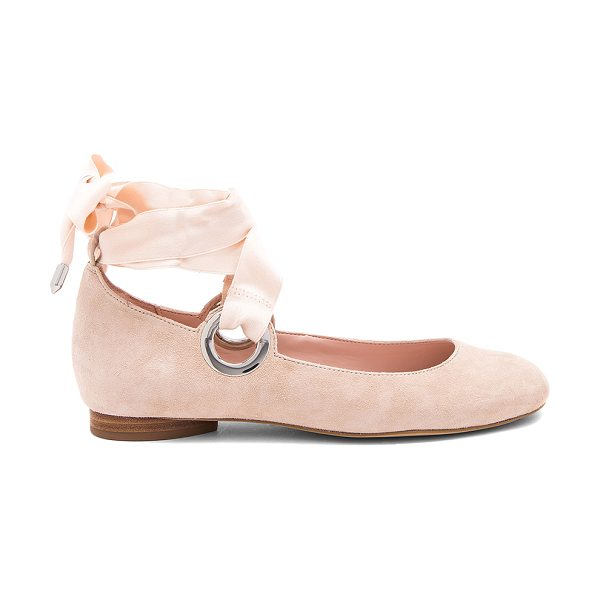 AVEC LES FILLES Miri Flat in beige - Suede upper with man made sole. Wrap ankle with tie...