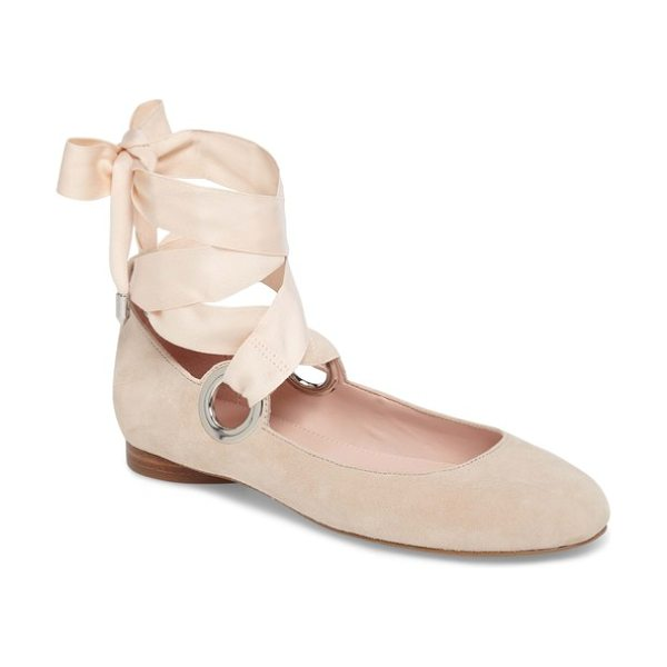 AVEC LES FILLES miri lace-up flat in bamboo suede - Gleaming grommets call attention to a lovely ballet...