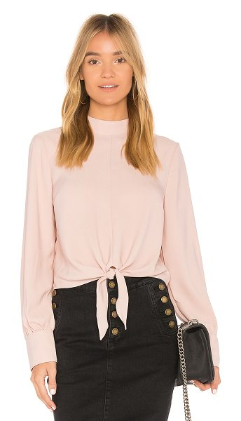 AVEC LES FILLES Tie Front Top in blush - 100% poly. Front tie detail. Buttoned sleeves. Back...