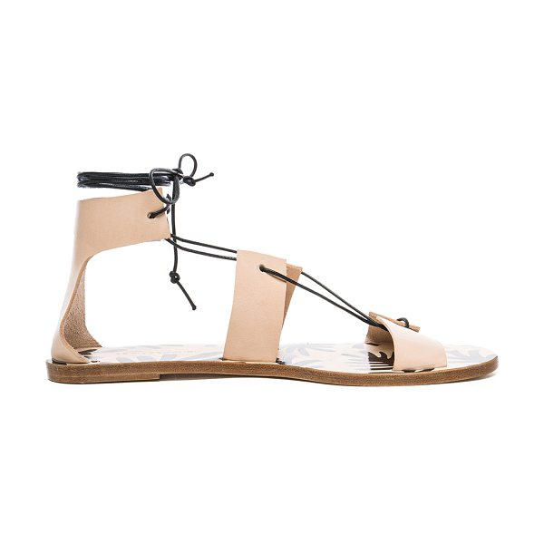 Avec Moderation Alessandra Sandals in neutrals - Leather upper and sole.  Made in Italy.  Lace up front...