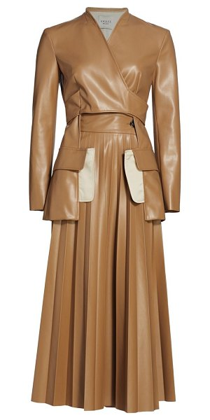 A.W.A.K.E. Mode faux leather maxi pleated coat in beige