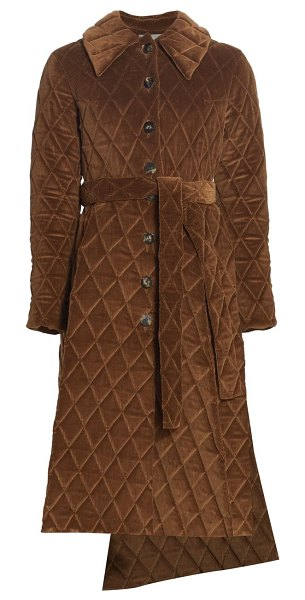 A.W.A.K.E. Mode quilted asymmetric corduroy coat in brown