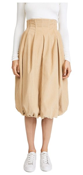 A.W.A.K.E. octopus head skirt in beige - This pleated corduroy A.W.A.K.E. skirt has a high rise...