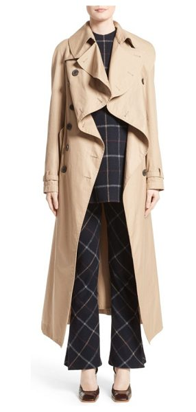 A.W.A.K.E. oversized cotton trench coat in beige - A dramatic oversized collar adds panache to a flattering...