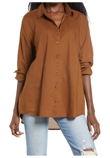 AWARE BY VERO MODA organic cotton woven shirt in brown