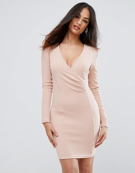 "Ax Paris blush bodycon ruched dress in pink - """"Dress by AX Paris, Lightly-textured knitted fabric,..."