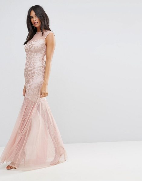 Ax Paris blush sequin bodice chiffon maxi dress in blush - Evening dress by AX Paris, Partially-lined chiffon, High...