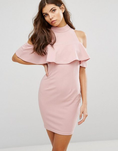 "Ax Paris Ax Paris Cold Shoulder High Neck Mini Dress in pink - """"Dress by AX Paris, Smooth stretch fabric, High neck,..."