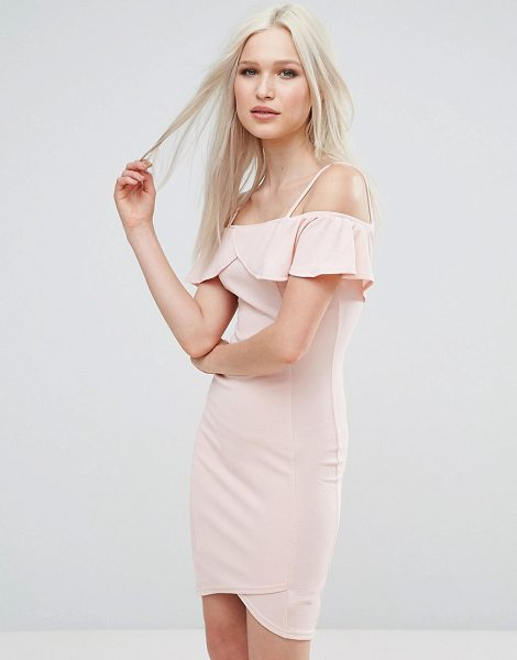 "Ax Paris Bardot Cross Front Bodycon Dress in pink - """"Party dress by AX Paris, Textured knitted fabric,..."