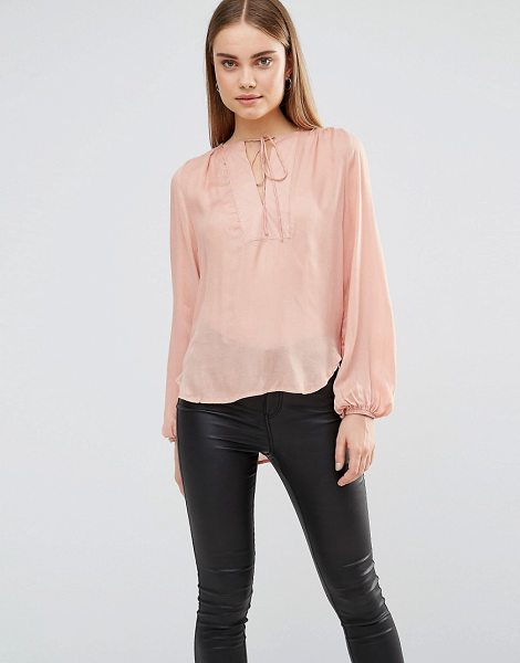 "Ax Paris Blouse With Front Panel And Tie Front in pink - """"Top by AX Paris, Lightweight woven fabric, Round..."