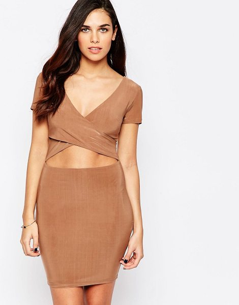 AX PARIS Bodycon Dress With Midriff Cut Out in beige - Body-Conscious dress by AX Paris, Lightweight jersey,...
