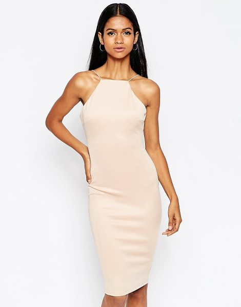 Ax Paris Body-conscious midi dress with string strap in nude - Midi dress by AX Paris Smooth knitted fabric Square...