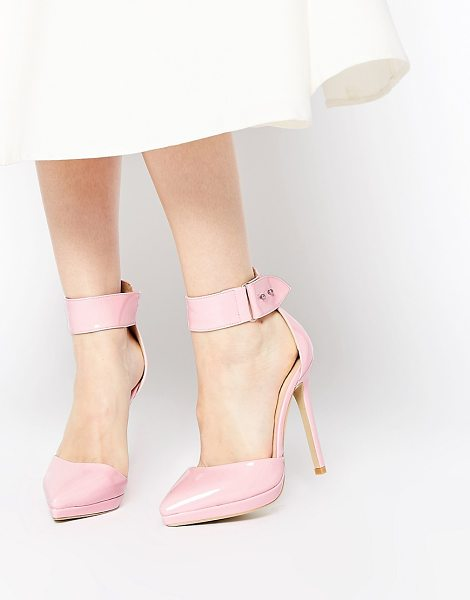 Ax Paris Darcy ankle strap heeled shoes in pink - Shoes by AX Paris, Smooth faux leather upper, Glossy...