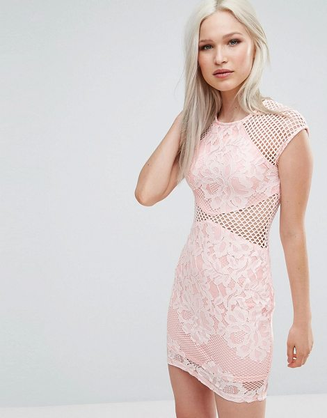 Ax Paris fishnet insert bodycon dress in pink