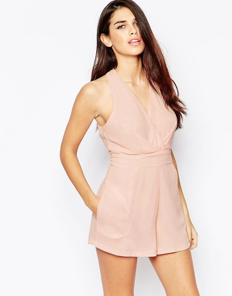 Ax Paris Halter Romper in Chiffon in pink - Romper by AX Paris, Smooth chiffon, V-neckline, Fitted...